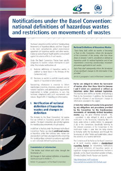 Notifications under the Basel Convention: national definitions of hazardous wastes and restrictions on movements of wastes